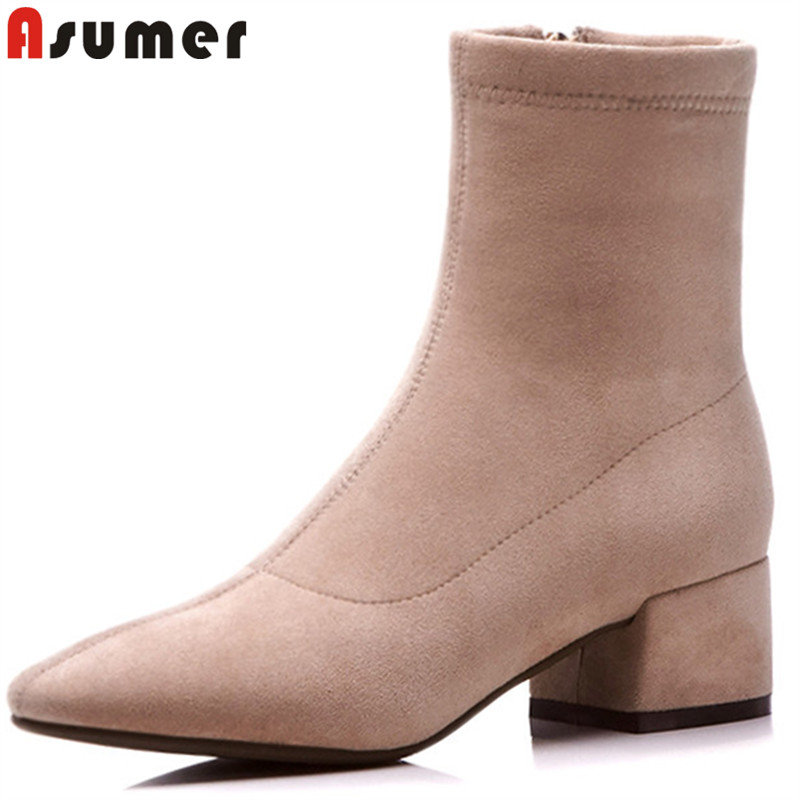 ASUMER big size 34-43 fashion square toe ankle boots women zip med heels ladies boots black ladies suede leather bootsASUMER big size 34-43 fashion square toe ankle boots women zip med heels ladies boots black ladies suede leather boots