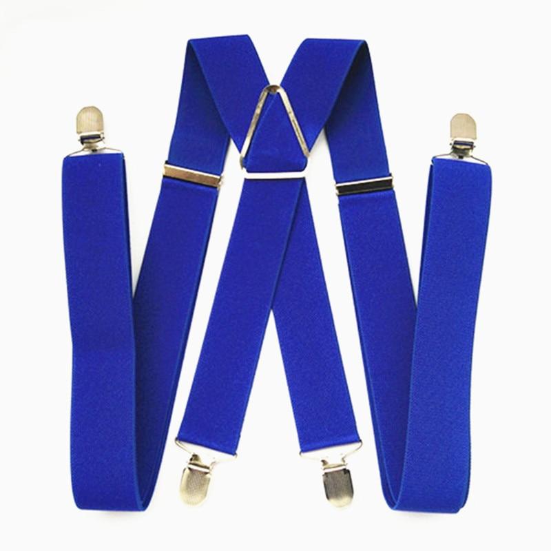 BD054-Large Size Royal Blue Adult Suspender 3.5 Width 4 Clips On Women Brace Adjustable Elastic X Back Pants Suspender For Men