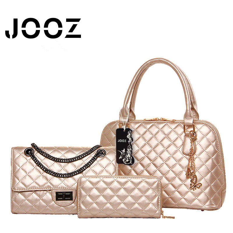 ФОТО JOOZ Brand Luxury Women Handbag Diamond Lattice Pattern 3 Pcs Composite Bags Set PU Leather Shoulder Bag Female Messenger Bags