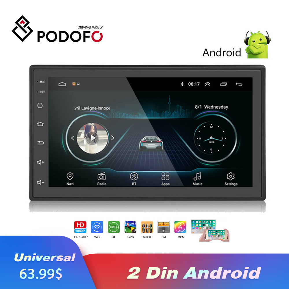 Podofo 2 Din autoradio Android universel GPS Navigation Bluetooth Wifi voiture Audio stéréo voiture multimédia MP5 pour Volkswagen Nissan