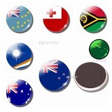 Luminous Flag Fridge Magnets Glass New Zealand Australia Vanuatu Tuvalu Marshall Islands Kingdom of Tonga Refrigerator Magnet