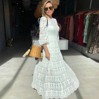 Australia Designer Brand Dress for Women Sexy Puff Sleeve Hollow Out Long Dress White