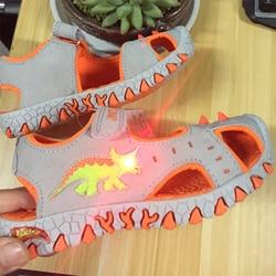 2017 Boys glowing sandals Boys flashing sneakers kids shoes luminous tenis led infantil boys beach sandals 3D dinosaur sandals
