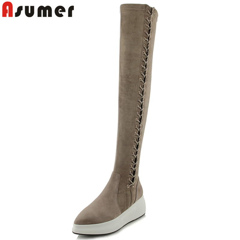 ASUMER 2018 fashion over the knee boots pointed toe zip stretch fabric+cow leather boots flat with platform autumn winter shoes ASUMER 2018 fashion over the knee boots pointed toe zip stretch fabric+cow leather boots flat with platform autumn winter shoes