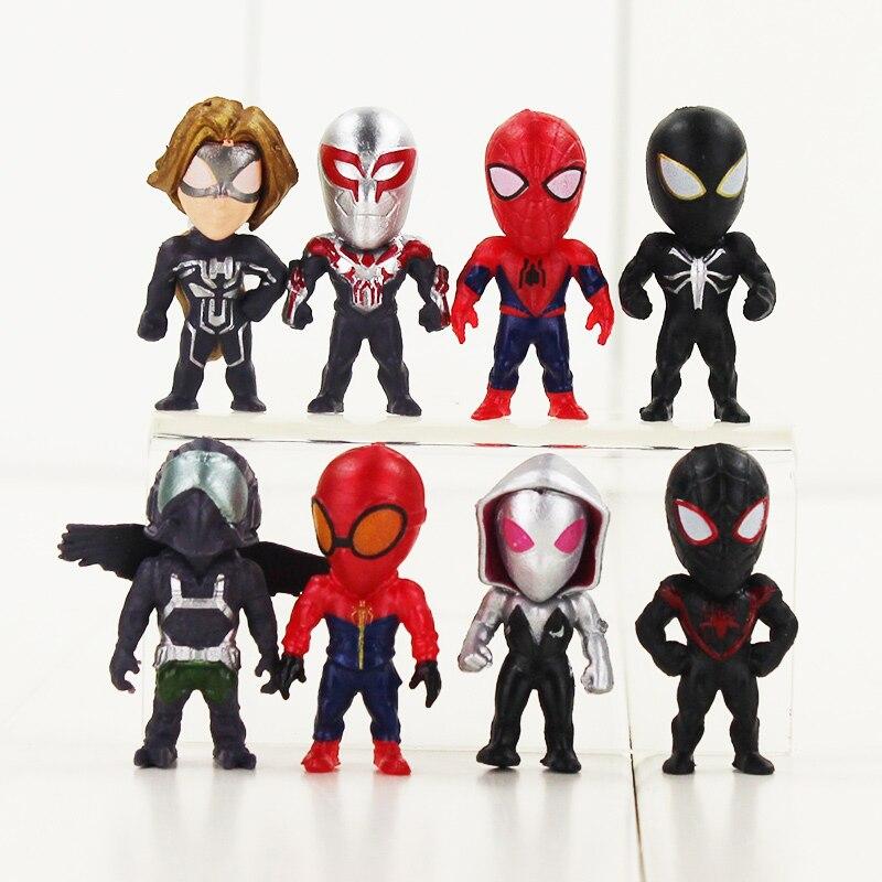 8pcs/set NEW Q version Gwen Stacy Venom <font><b>Spiderman</b></font> <font><b>collectors</b></font> action figure toys Christmas gift doll
