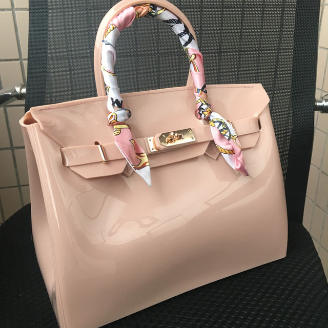ae29850d3d JELLYOOY 30cm large size Women Plastic Jelly Handbags Designer Girls  Fashion Candy Color Shoulder Bags Waterproof PVC Beach Bags