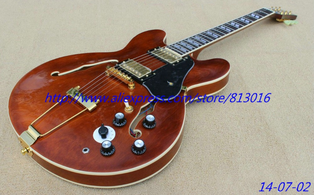 best china guitar Custom Shop ES335 faded brown color,semi glossy finished,rosewood fingerboard,split inlay, free shipping!