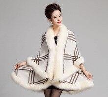 Faux Fur Coat New Winter Luxury Fashion Faux Fox Fur Poncho Bat Sleeve Long Plaid Knitted Cardigan Shawl Cape Cashmere Coat(China)