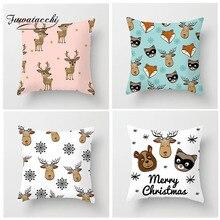 Fuwatacchi Cartoon Animal Cushion Cover Deer Bear Arctic Fox Goat Pillow Cover Decor Sofa Chair Children Room White Pillowcases