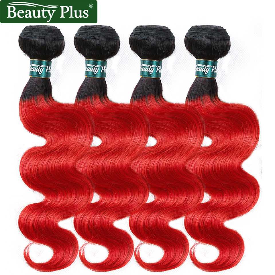 Ombre Brazilian Body Wave Bundles Deals Beauty Plus Pre-Colored Human Hair Weave Non Remy Dark Roots Hot Red Wavy Hair Weft