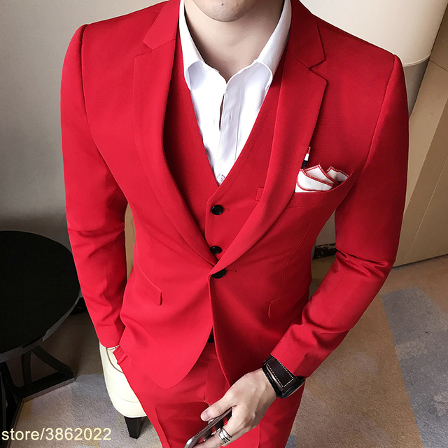 dcbf4fbee028 Royal Blue Mens Suit Solid Color Mens Classic Suits Red Prom Suit Black  White Abiti Uomo
