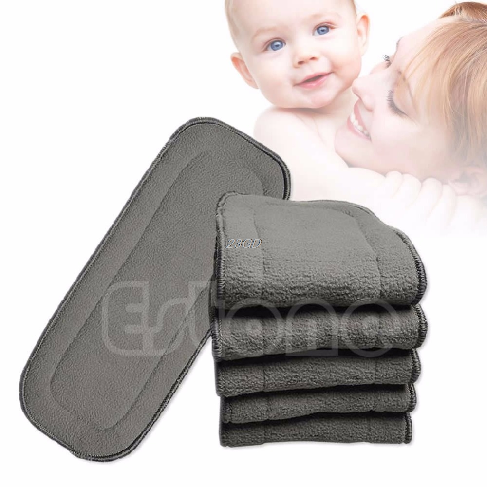 2017 Bamboo Fiber Charcoal Washable Cloth Nappies Diaper Insert Reusable 5 Layers APR14 30
