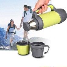 2017 neue Tragbare 1L Edelstahl Isolierkanne Reisenden Wasserflasche Fahrzeug Thermo Krug thermos Outdoor Sport Wasserflasche