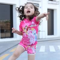 Two Pieces Baby Girls Bathing Suit Elsa Anna Sophia Swimsuit Children Bikini Set Kids Cartoon Swimwear