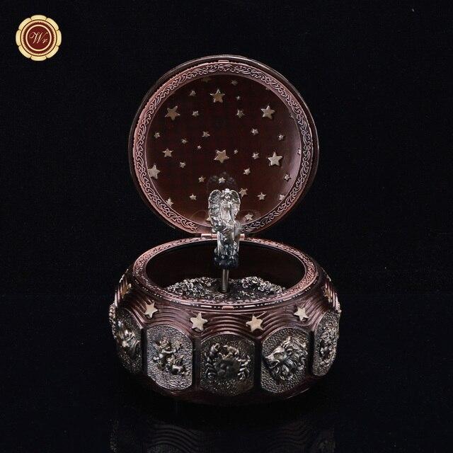 Wr Bruiloft Verjaardag Cadeau Voor Vrouw 12 Constellatie Muziekdoos Klassieke Brons Metalen Bal Met Led Verlichting Geschenken 10 10 12 Cm In Wr
