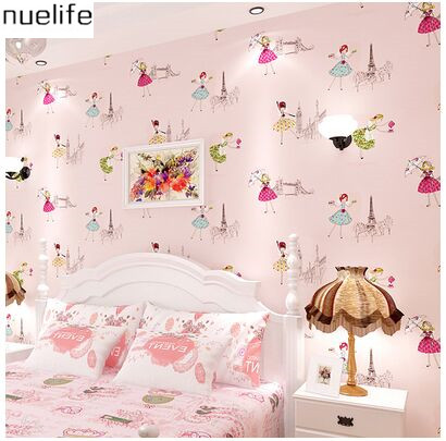ФОТО 0.53x10m Korean cute cartoon girl pattern wallpaper princess room children wallpaper warm bedroom pink non-woven full  wallpaper