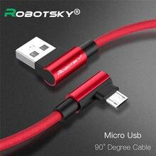 Câble Micro USB 2,4 a pour recharge rapide et transfert de données, cordon de chargeur en Nylon tressé à 90 degrés pour téléphone Samsung S6/S7/Xiaomi/Huawei/LG