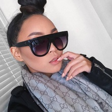 Flat Top Oversized Women Sunglasses Retro Shield Shape Luxy