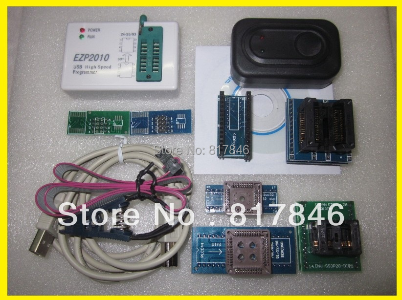 Free shipping EZP2010 Programmer High-Speed USB SPI Programmer support 24 25 93 EEPROM flash bios chip+SOIC8 Clip+7Adapater high speed usb recorder spi iic spiflash burner eeprom writer