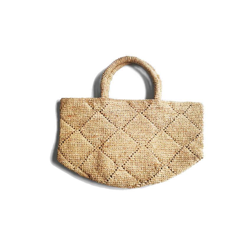 Baru Musim Panas Jerami Pantai Tas Vintage Handmade Woven Bahu Tas Raffia Lingkaran Rotan Tas Bohemian Liburan Musim Panas Kasual Tas