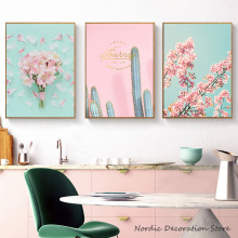 Waterproof Canvas Painting Pink Poster Image Cactus Abstract Tower Nordic Posters  And Prints Wall Art Pictures Unframed