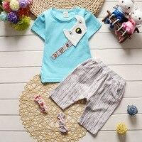 Vestiti del bambino di estate 2017 newborn baby boy vestiti vestito vestito del bambino del cotone del vestito (shirt + pants) retro vestiti del bambino vestito