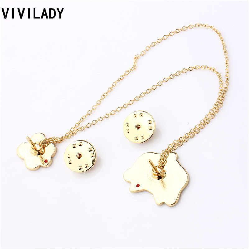 Vivilady秋ファッションエナメルラッキー猫の花桃の花ブローチピンバッジ女性女の子衣装ビジューアクセサリーパーティーギフト