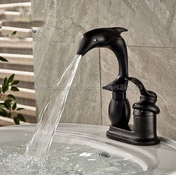 Oil Rubbed Bronze Dolphin Shape Bathroom Basin Faucet Single Handle Deck Mount Basin Vessel Sink Mixer Tap Knf032 deck mount waterfall glass spout basin sink faucet square shape bathroom vessel sink mixer taps oil rubbed bronze