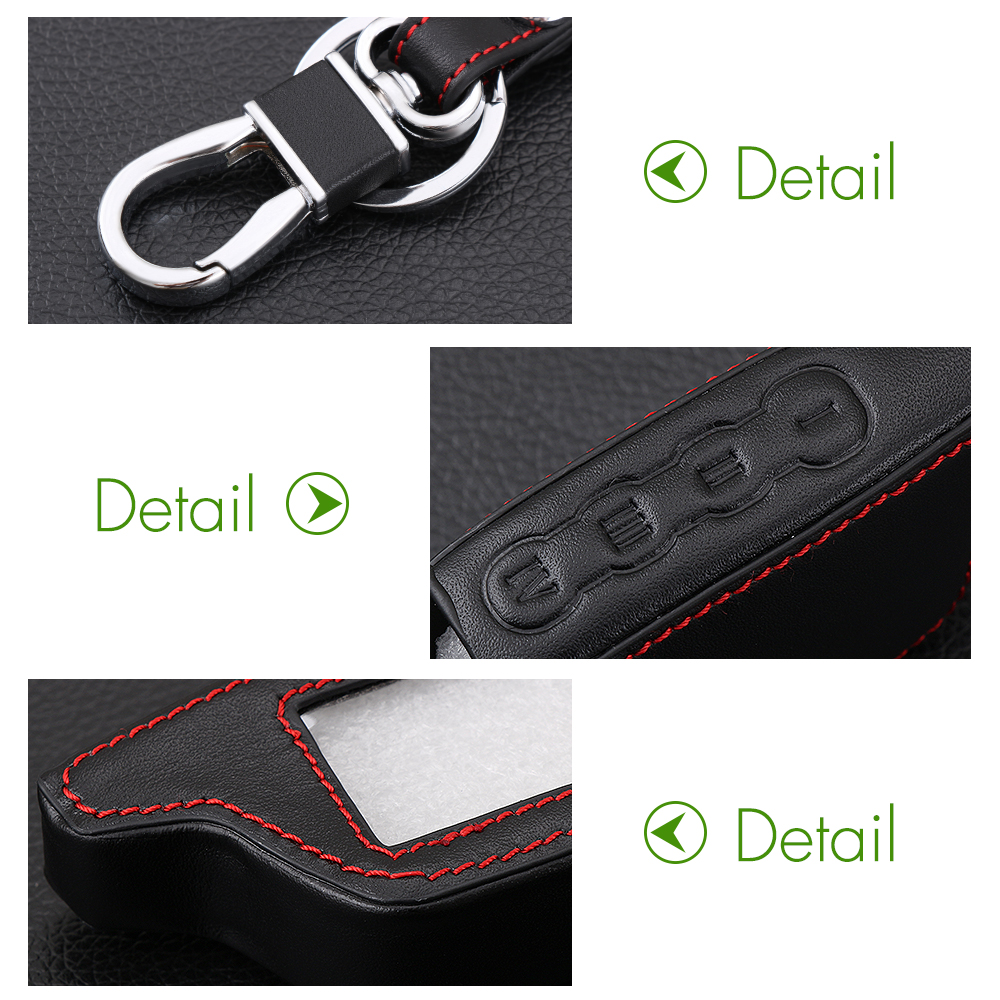 Image 5 - AndyGo Leather Alarm Remote Keychain Case for Scher Khan For Scher khan Magicar 5 6 M5 M6 Cover Holder-in Key Case for Car from Automobiles & Motorcycles