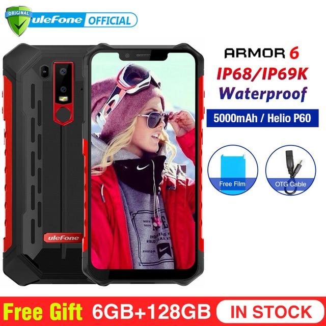 Ulefone שריון 6 IP68 עמיד למים נייד טלפון אנדרואיד 8.1 Helio P60 אוקטה Core 6 GB 128 GB פנים מזהה NFC IP69K מחוספס Smartphone