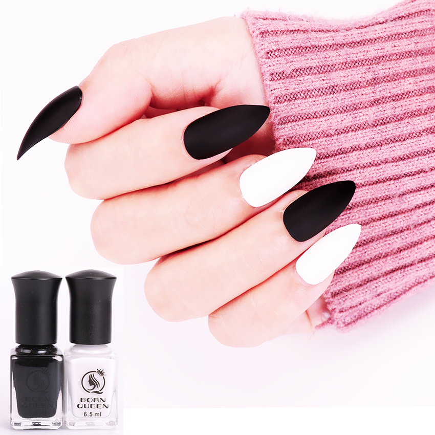 BORN QUEEN 2pcs 6.5ml Matte Dull Nail Art Polish Black White Nail ...