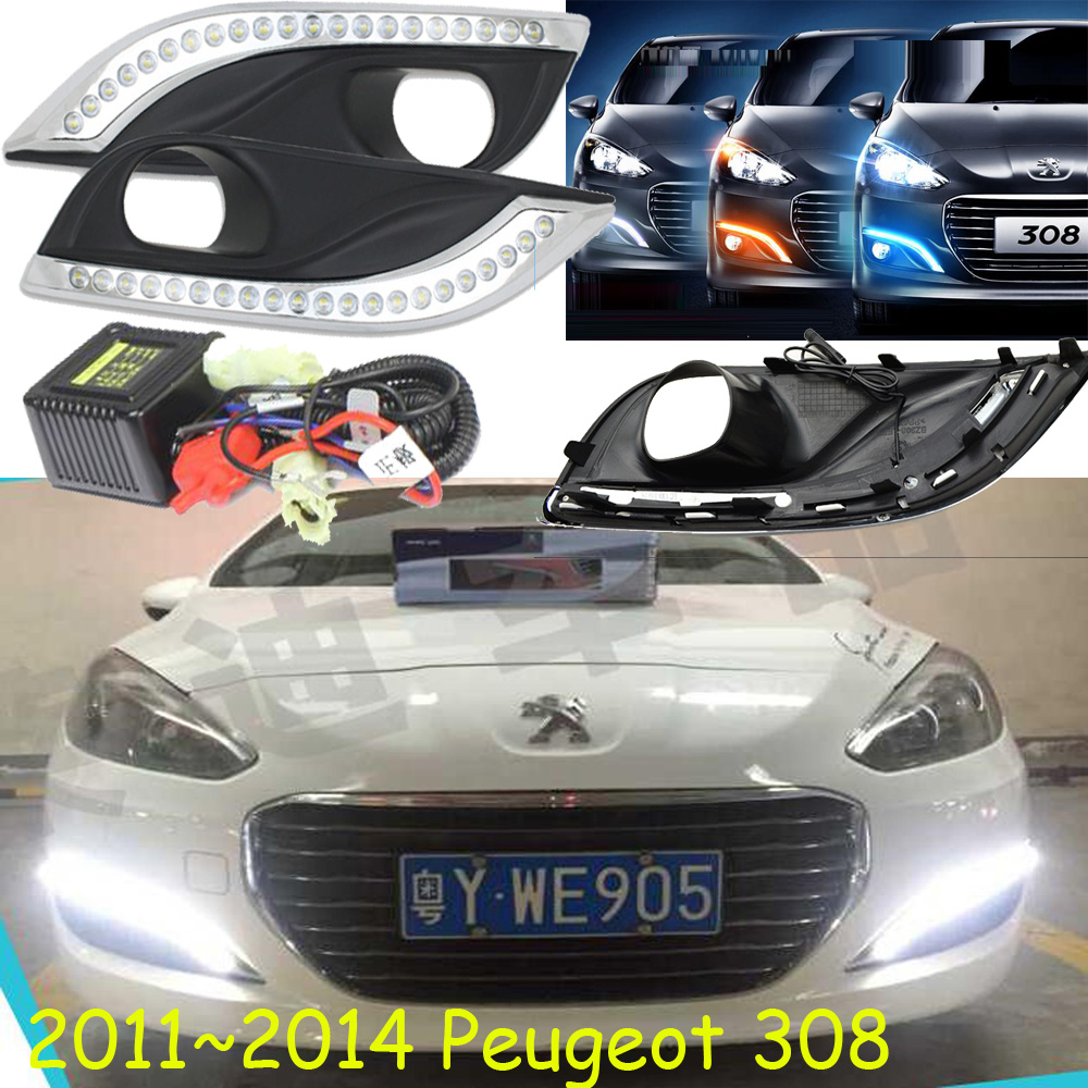 Peugeo 308 daytime light;2012~2015, Free ship!LED,Peugeo 308 fog light,2ps/set;Peugeo 308;3008;307