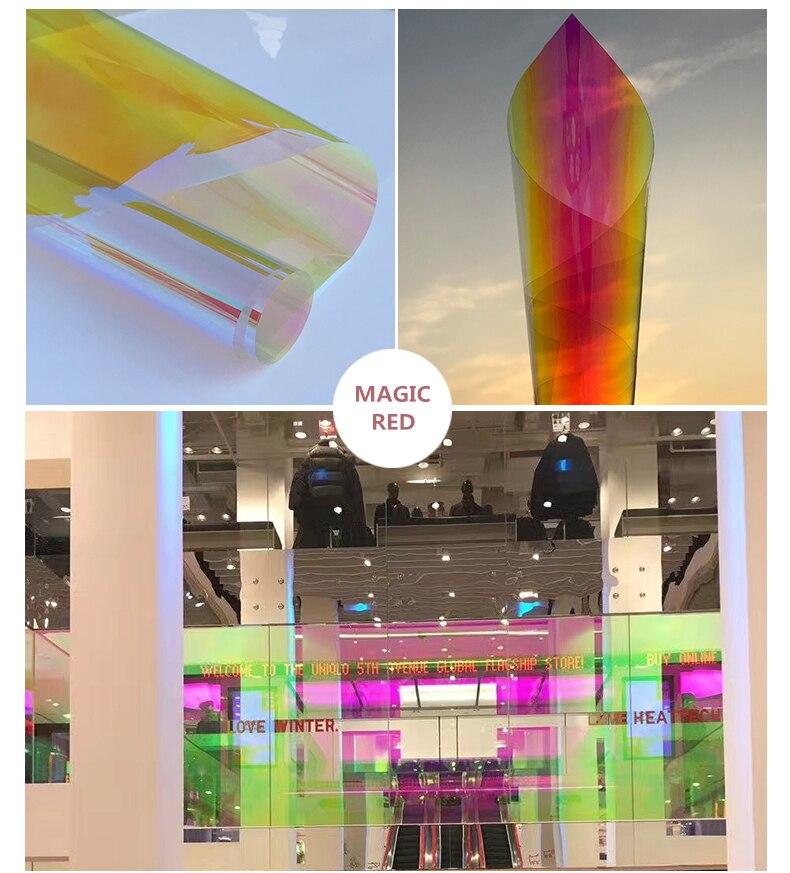 Film de finition irisé dichroïque rouge de qualité 3 M pour fenêtre en verre et panneaux acryliques 68 cm X 30 m par rouleau