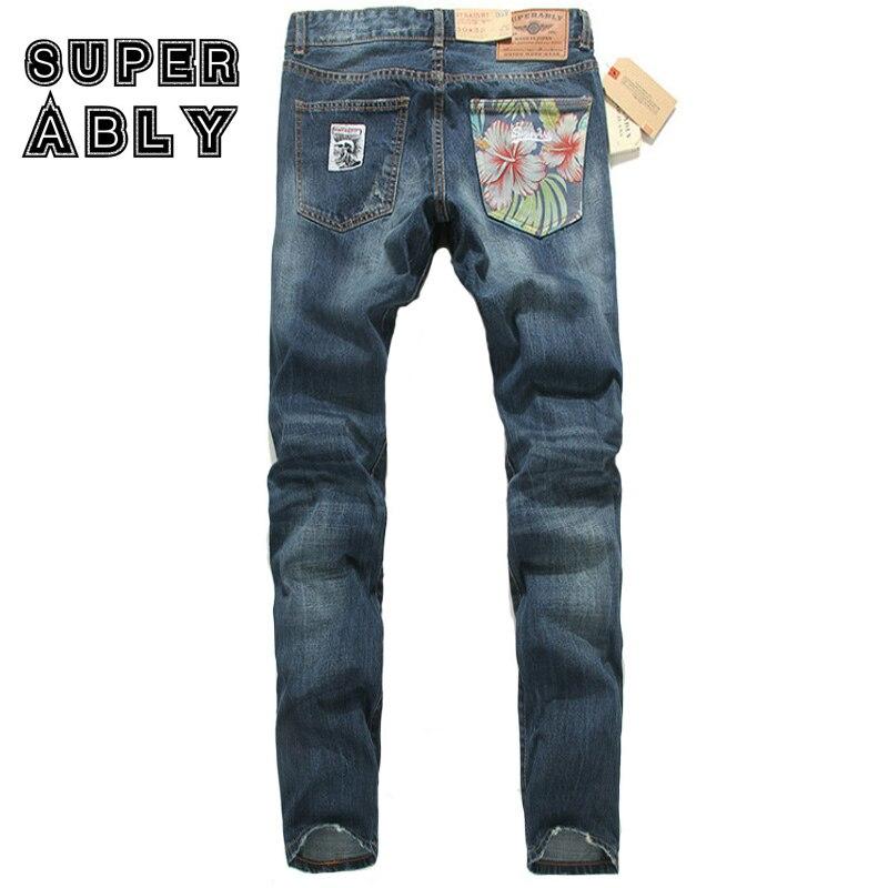 ФОТО Superably Brand Men Jeans High Quality Straight Fit Dark Color Stripe Jeans Men Flowers Pocket Designer Badge Casual Pants