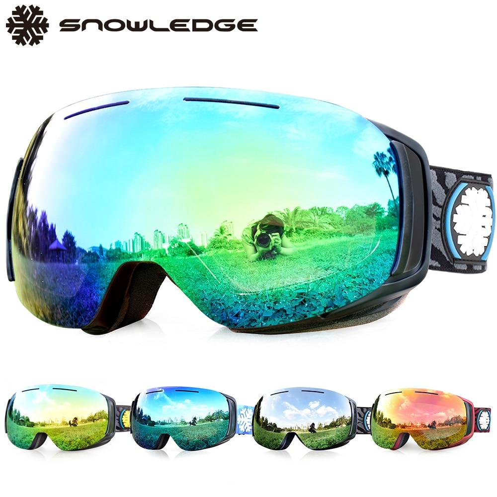 Snowledge Ski Goggles Womens Males's, Anti-Fog Snowboard Goggles, Snowboarding Goggles , Frameless, Magnetic And Interchange Lens