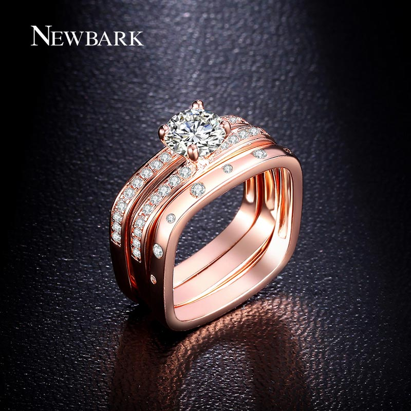 newbark highly recommended trendy wedding jewelry ring three bands square rings inlaid top quality cz jewelry gifts for women in rings from jewelry - Three Band Wedding Ring