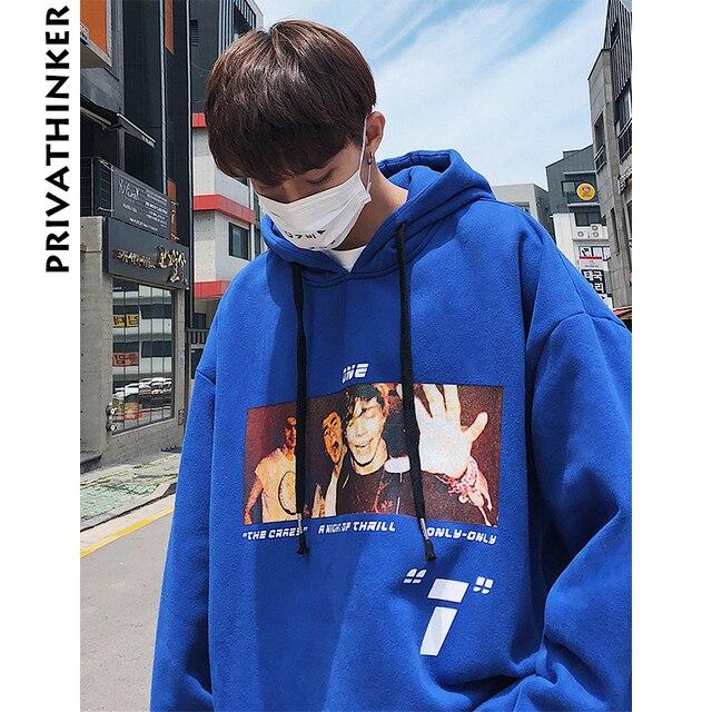 Privathinker Men Print Hooded Hoodies 2018 Mens Japanese Streetwear Winter Black Hiphop Sweatshirts Male Fashion Hoodie Pullover 1