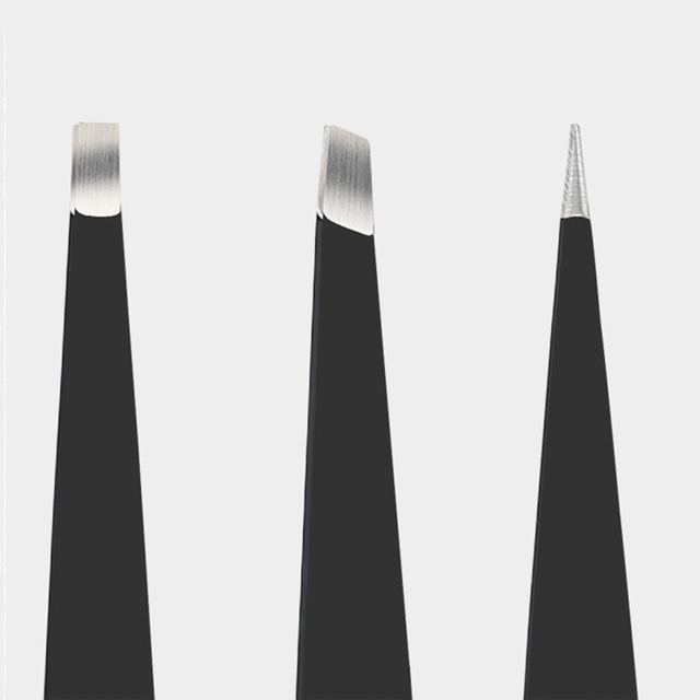 3PCS/SET Professional Eyebrow Tweezers Stainless Steel Point Tip/Slant Tip/Flat Tip Hair Removal Makeup Tool Kit with Bag TSLM1 4