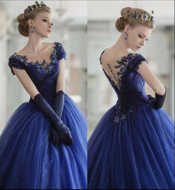 Royal Blue Colorful Ball Gown Wedding Dresses With Color 2019