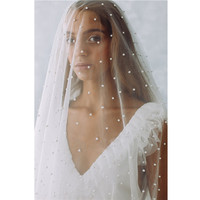 2019 Bridal veils Cathedral Wedding Veil White Ivory Tulle Stars Starry Pearls One Layer Veil velo de novia voile Mariage Perles