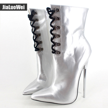 Fashion High-heeled boots Spring/Summer rivet Zip sexy womens martin thin heels shoes motorcycle