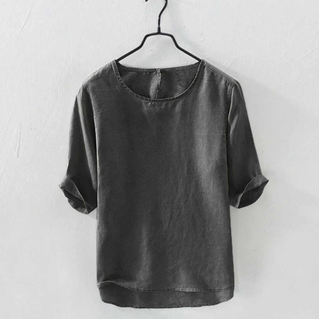 JAYCOSIN 2019 新しい夏のメンズシャツカジュアル固体ソフト綿 100% リネンシャツルース O ネックトップス半袖 Tシャツトップカミーサ 9612