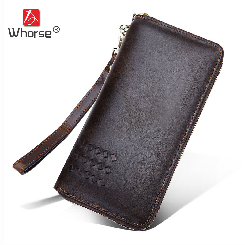 High Quality Vintage Knitting Design Genuine Leather Long Zipper Men Wallet Oil Wax Cowhide Mens Wallets Clutch Bag Purse W9345 simline vintage genuine cow leather cowhide mens men long double zipper wallet purse wallets card holder clutch bag bags for man