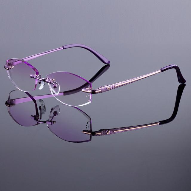 Marca original titanium marco de aleación de gafas sin montura marco mujeres diamante corte de corte sin montura de gafas con lentes de color degradado