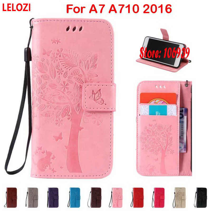 LELOZI Tree Flower Star Cat Butterfly PU Leather Wallet Women Wallt Case For Samsung Galaxy A7 A710 2016 Luxury Deluxe New Art