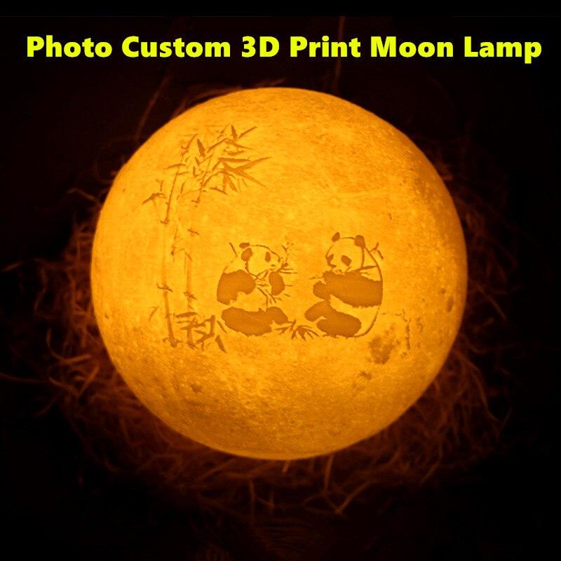 Drop Schiff 8/10/15/18/20 Angepasst 3D Druck Mond Licht USB Lade Foto Benutzerdefinierte mond Nacht Lampe 2/16 farben
