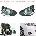 Fog light for for TOYOTA YARIS L/LE HATCHBACK 2012-2014 fog lamps Clear Lens Bumper Fog Lights Driving Lamps