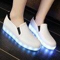 Новый Большой Размер 43 Белые Кожаные Ботинки Женщин Плоские Случайные Led Обувь Женская Комфортабельные Весенние Женская Обувь