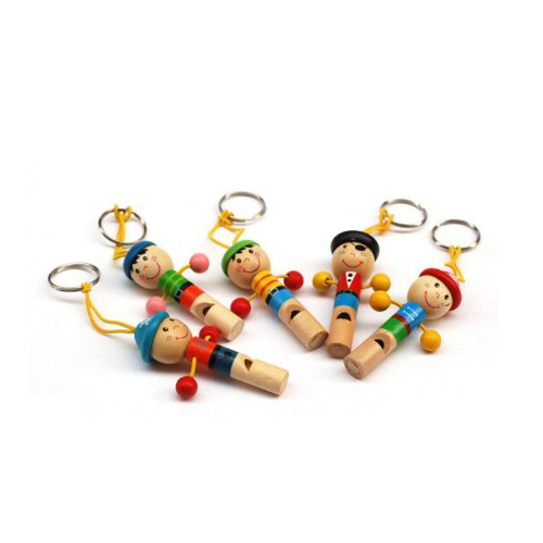5pcs Cute Pirate Wooden Whistle with Keyring Key Chain for Kids Games