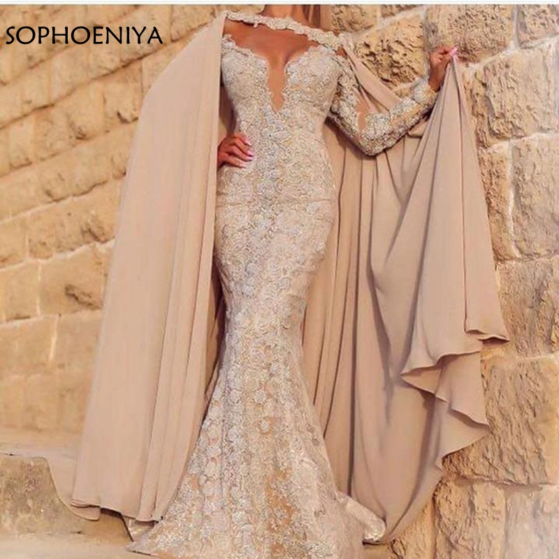 New Arrival Lace Evening dress 2018 Dubai Kaftan abiye evening dresses Cap sleeve Formal dress to Party Prom dresses(China)